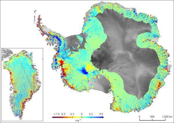 Ný kort sem sýna bráðnun jökla á Grænlandi og Suðurskautinu. (Mynd: ICESat, NASA)