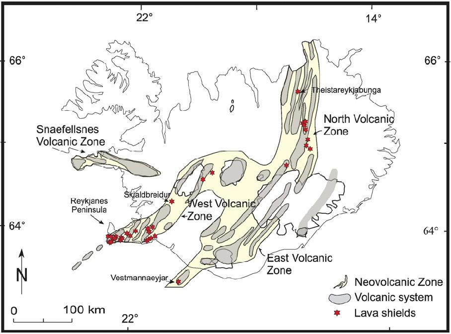 Dyngjur á Íslandi (rauðar stjörnur). Mynd úr grein Andrew og Ágústar Guðmundssonar 2007.