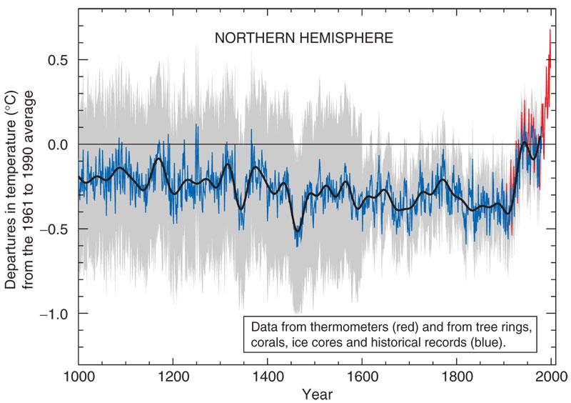 Hokkístafurinn sem gerður var 1999 og birtist í skýrslu IPCC 2001.