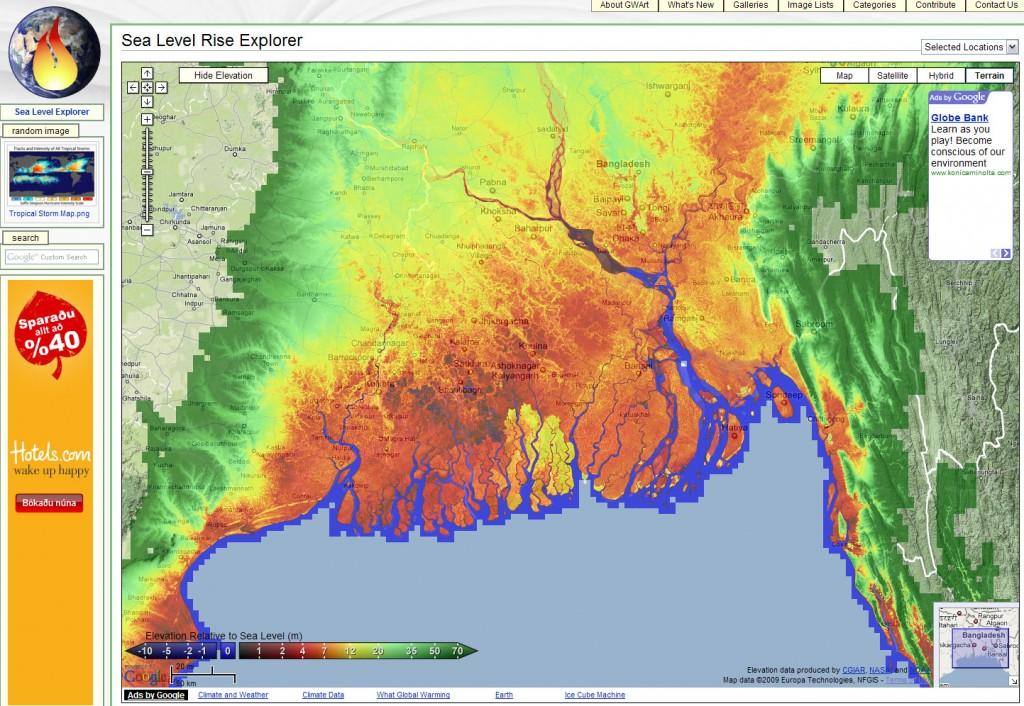 Kort sem sýnir áhrifasvæði hækkunar sjávarstöðu (Sea Level Explorer - Global Warming Art)