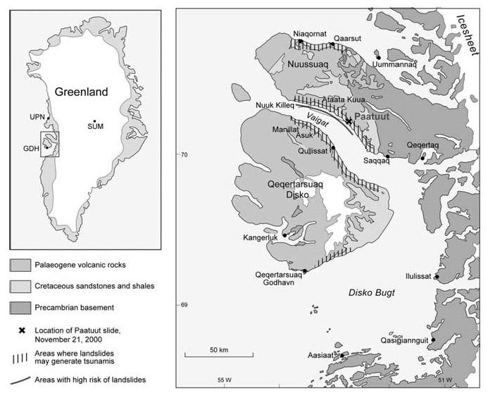 Kort sem sýnir helstu staðsetningar, jarðfræði og skriðuhættu við Disko eyju og nágrenni.