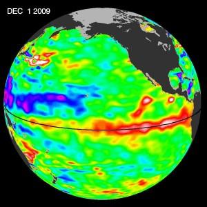 Hlýr sjó við miðbaug Kyrrahafs sýnir El Nino þann 1. desember 2009   (mynd af heimasíðu NASA)