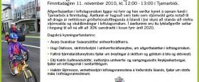 Kynningarfundur umhverfisráðuneytisins um aðgerðaáætlun í loftslagsmálum, fim. 11. nóv kl. 12-13 í Tjarnarbíói..