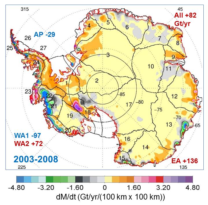 Kort sem sýnir massabreytingar með gervihnettinum ICESat frá 2003-2008 á Suðurskautinu. Mynd: Jay Zwally o.fl./ Journal of Glaciology