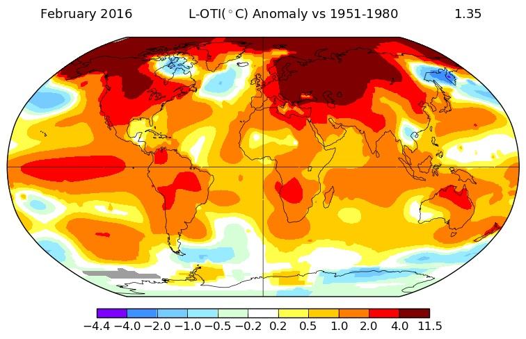 Yfirborðsgildi hnattræns hitafráviks fyrir febrúar 2016 samkvæmt NASA sýnt sem frávik frá meðalhitastigi áranna 1951-1980. Mynd: NASA/GISS